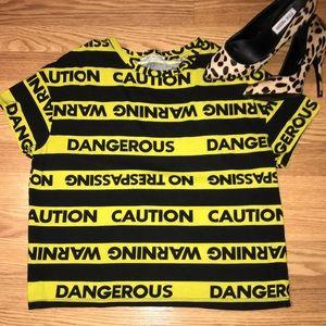 Zara RARE cautious no trespass danger top shirt S